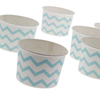 6 TREAT CUPS POT A GLACE BLEU ET BLANC - ANNIVERSARY HOUSE