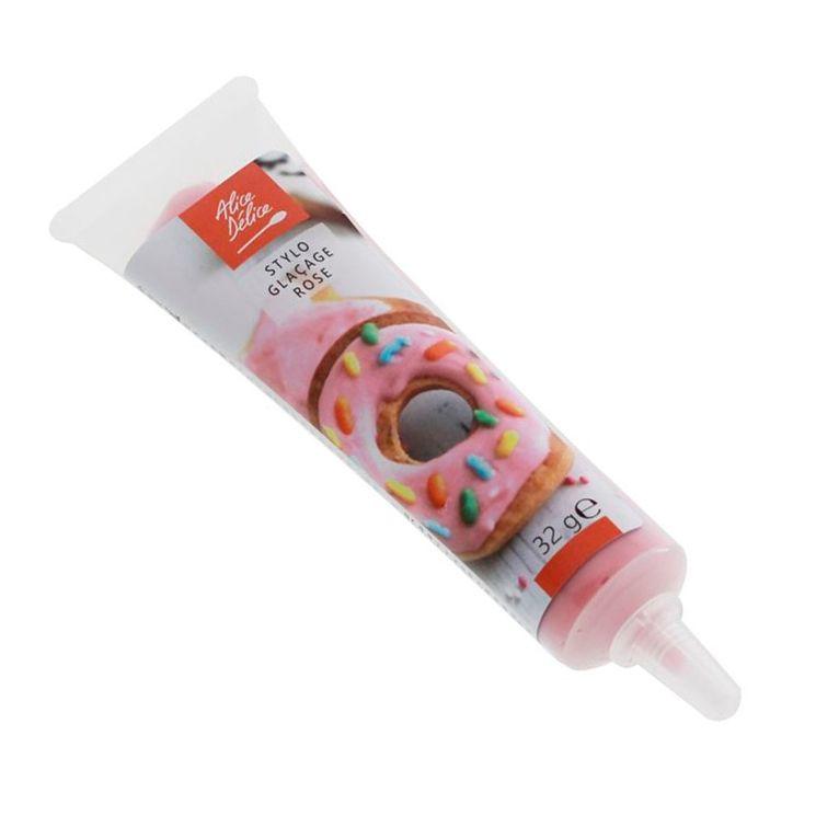 Stylo glaçage rose pour décorer les biscuits 32g