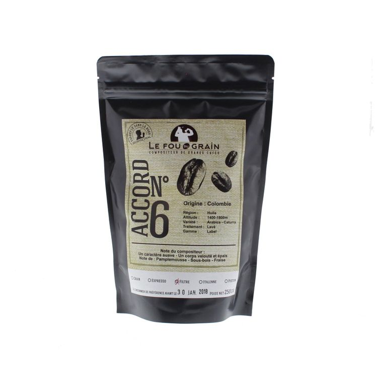 CAFE DECA GRAINS COLOMBIE ACCORD N°15 250GR - LE FOU DU GRAIN