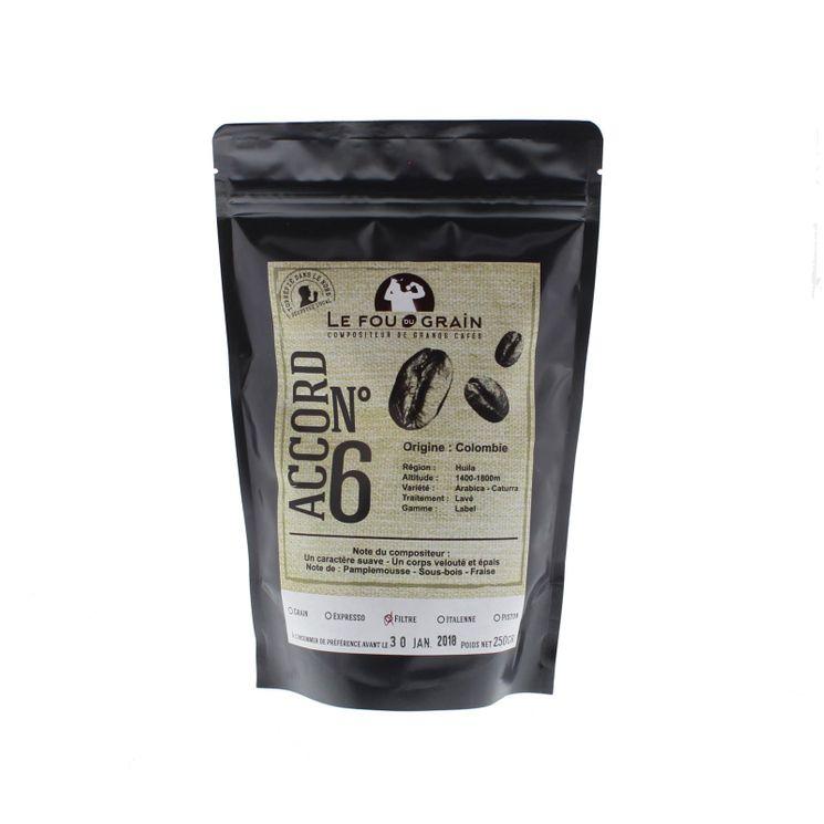 CAFE MOULU COLOMBIE ACCORD N°6 250GR - LE FOU DU GRAIN