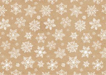 Rouleau papier cadeau flocons blanc et kraft 2m - Braun Company