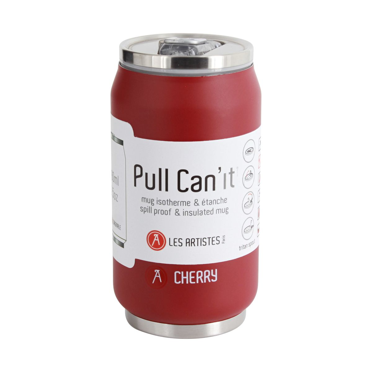 CANETTE ISOTHERME PULL CAN´IT ROUGE SOFT 280ML - LES ARTISTES