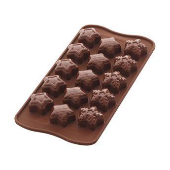Achat en ligne Moule 15 chocolats étoiles de Noël en silicone 11 x 24 cm - Silikomart