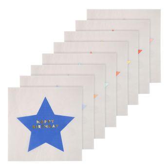 16 grandes serviettes étoiles Joyeux Anniversaire - Meri Meri