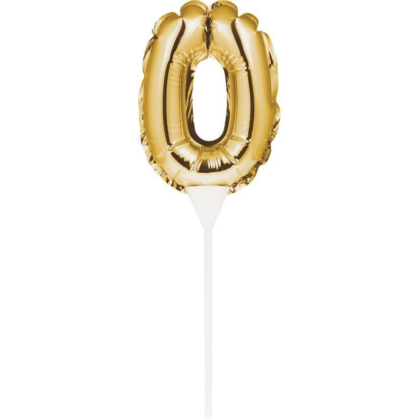 Décor de gâteau : Ballon chiffre 0 doré - Creative Converting