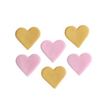6 décors en sucre cœurs roses et dorés - Anniversary House