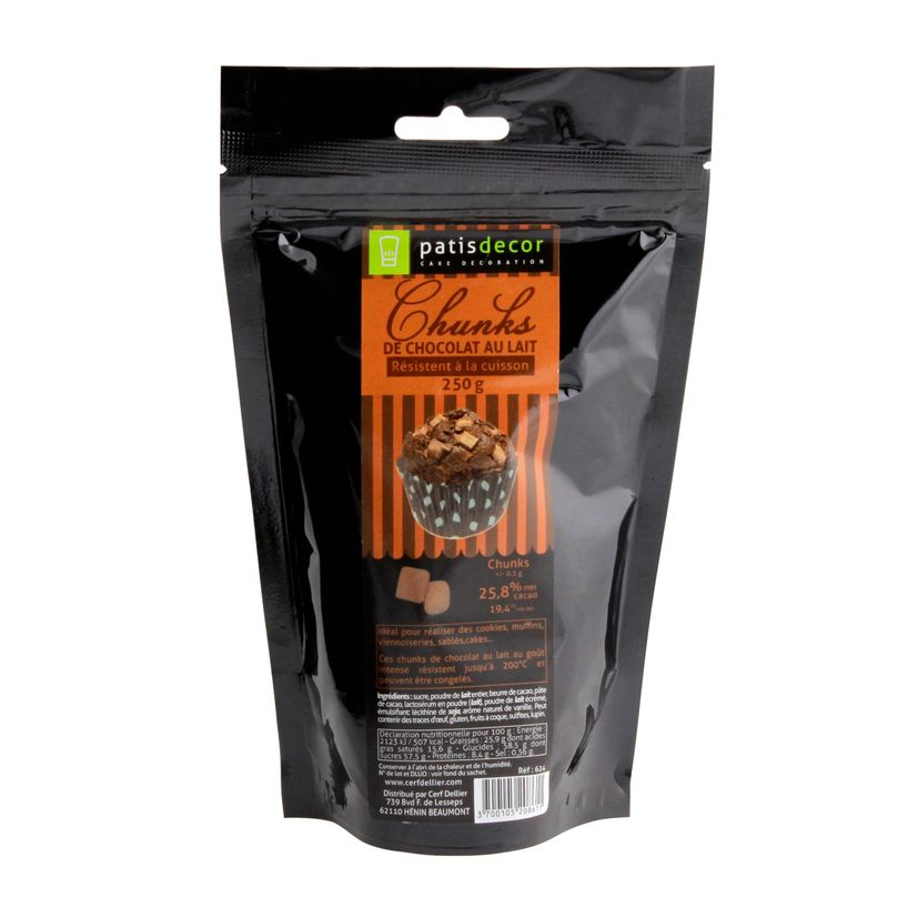 Pépites chunks chocolat au lait 250g - Patisdecor