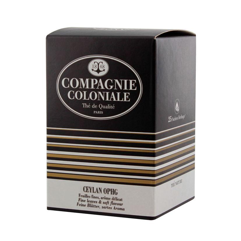 Thé noir nature 25 berlingots Ceylan ophg  - Compagnie Coloniale