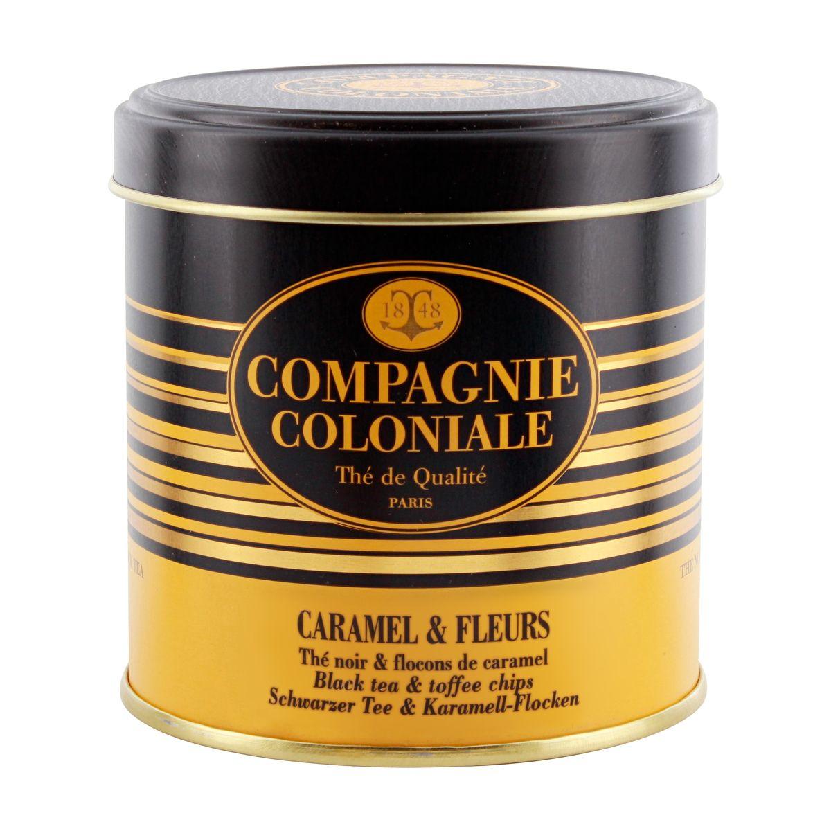 THE NOIR AROMATISE BOITE METAL CARAMEL ET FLEUR - COMPAGNIE COLONIALE
