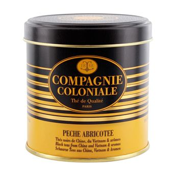 THE NOIR AROMATISE BOITE METAL PECHE ABRICOTEE - COMPAGNIE COLONIALE