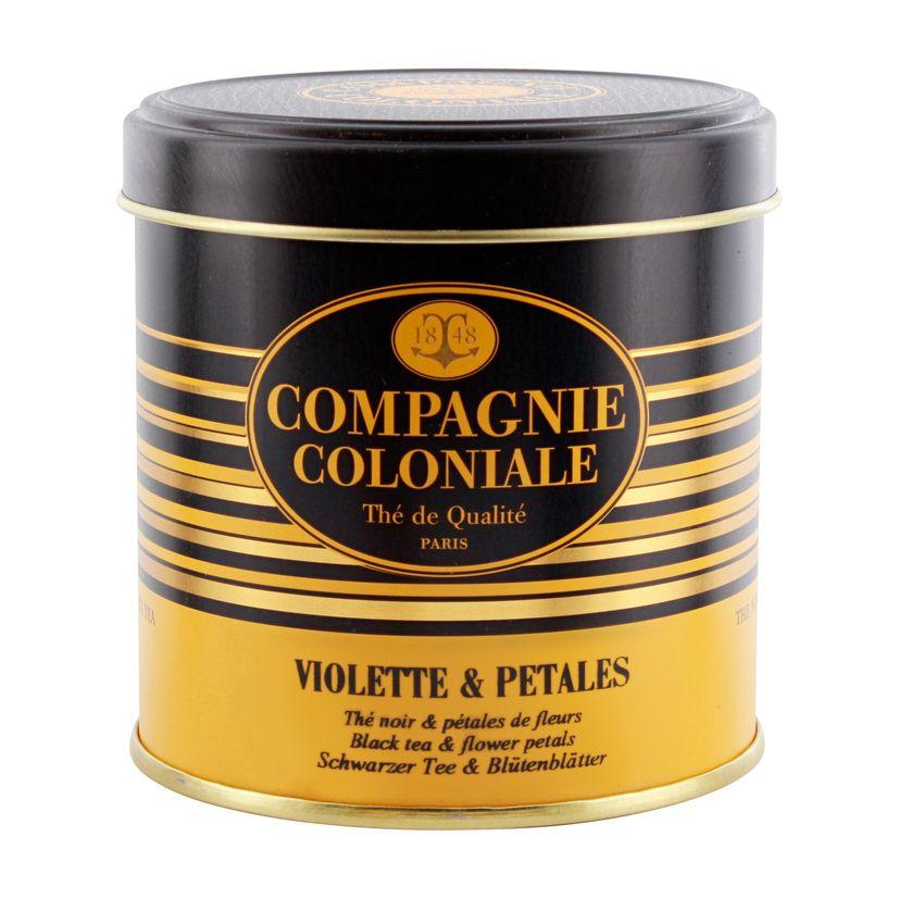 Thé noir aromatisé boîte métal violette et pétales 90gr - Compagnie Coloniale