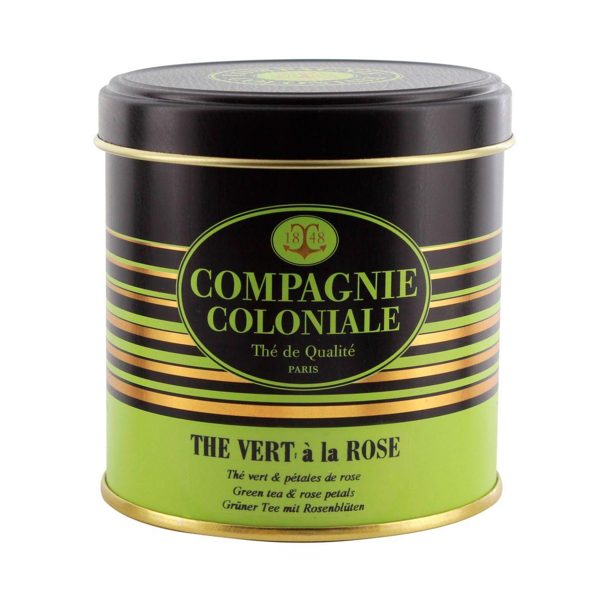 Thé vert nature et aromatisé boîte métal thé vert a la rose - Compagnie Coloniale
