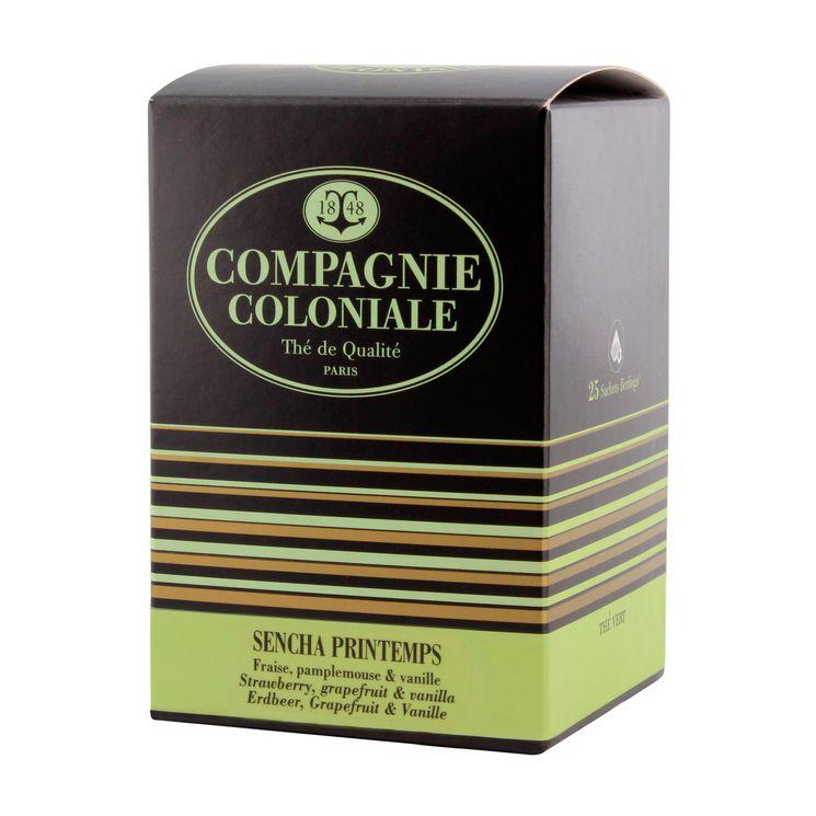 Thé vert nature et aromatisé  25 berlingots thé vert Sencha printemps - Compagnie Coloniale