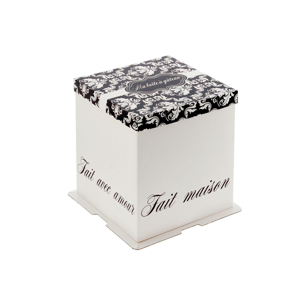 Boîte à gâteaux blanche et noire 21 x 21 x 22 cm - Patisdecor
