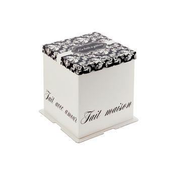 Achat en ligne Boîte à gâteaux blanche et noire 21 x 21 x 22 cm - Patisdecor