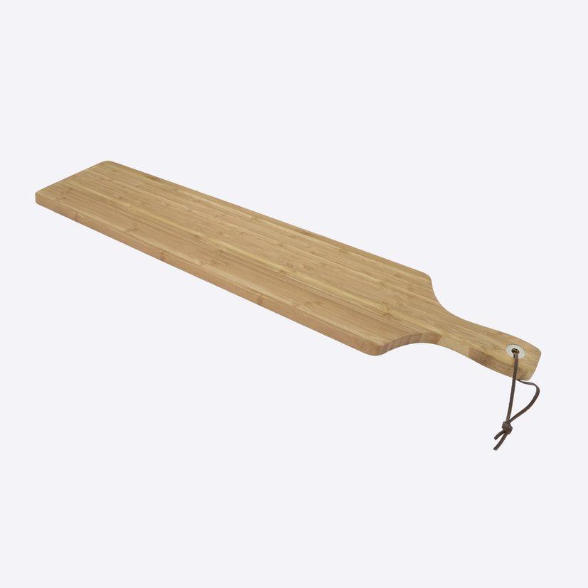 Planche en bambou avec anneau métal & ficelle cuir 75 x 14 cm - Point Virgule