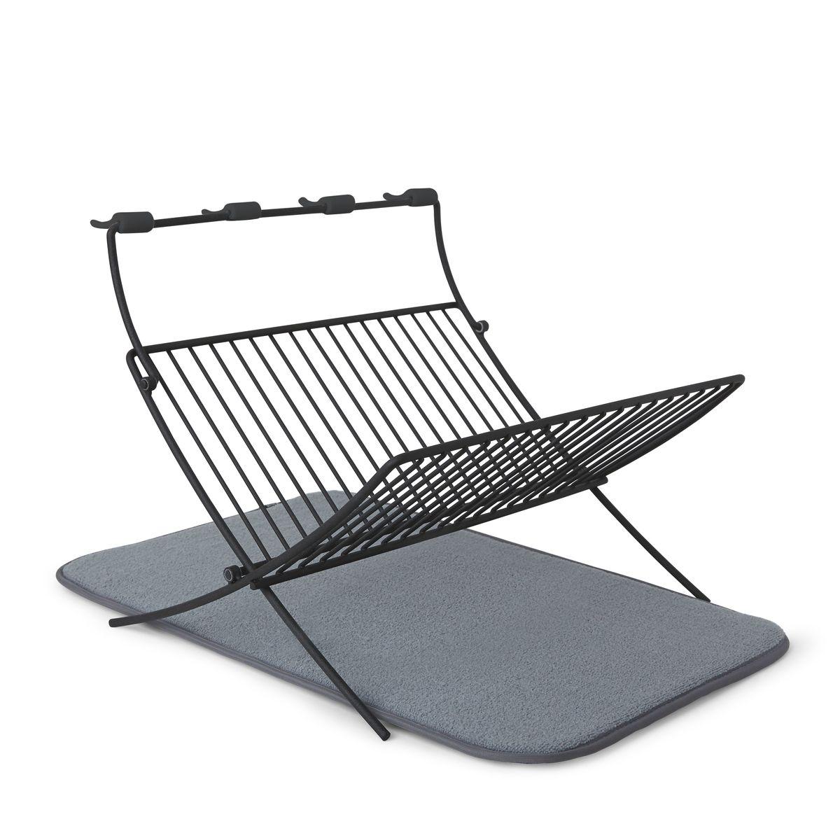 Egouttoir à vaisselle noir avec tapis de séchage en microfibre - Umbra