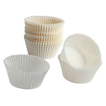 45 PETITS MOULES A CUPCAKES BLANC 5.5X3CM - CHEVALIER DIFFUSION