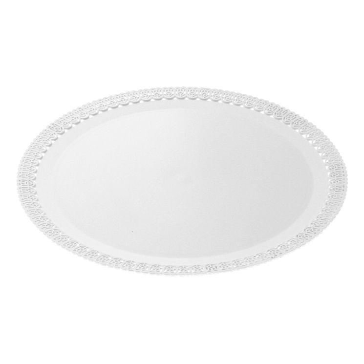 Plateau rond en plastique blanc avec bords dentelle 26cm - Patisdecor