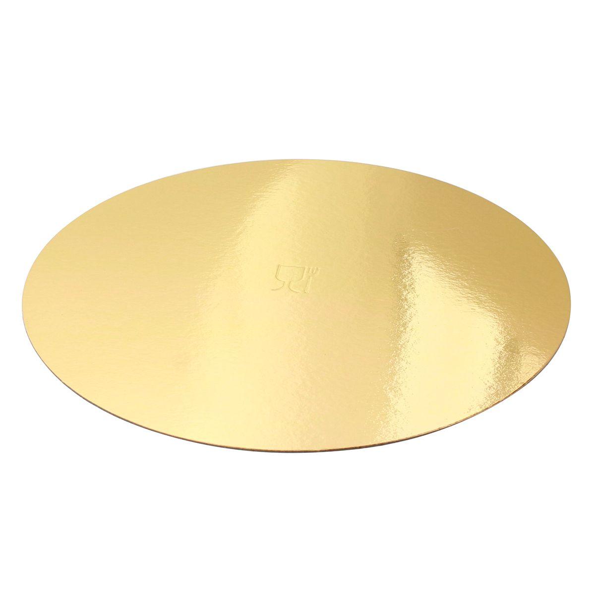 5 supports à gâteaux ronds dorés 26 cm - Gatodeco