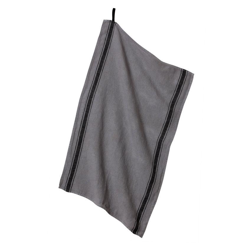 Torchon Olbia 46x70 silex  100% lin - Harmony