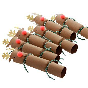 6 petits crackers Noël renne - Meri Meri