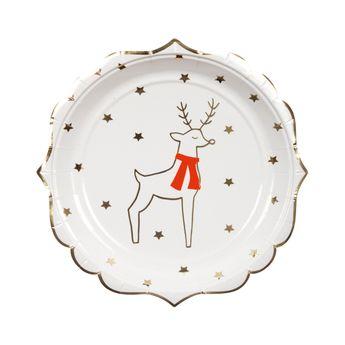 8 petites assiettes renne et étoiles - Meri Meri