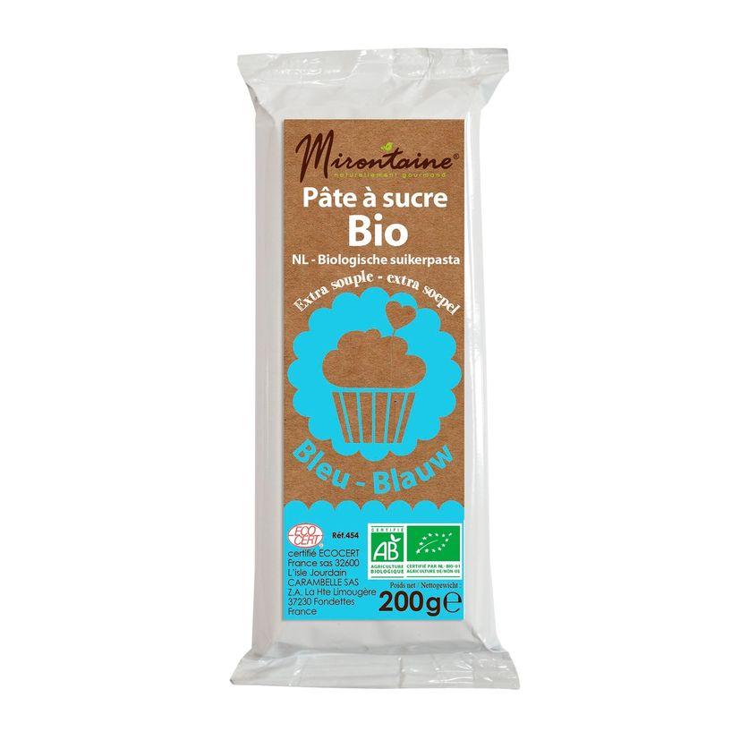 Pâte à sucre bio bleue 200gr - Mirontaine