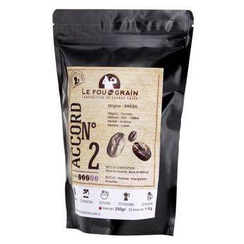 Achat en ligne CAFE EN GRAIN BRESIL ACCORD N°2 250GR - LE FOU DU GRAIN