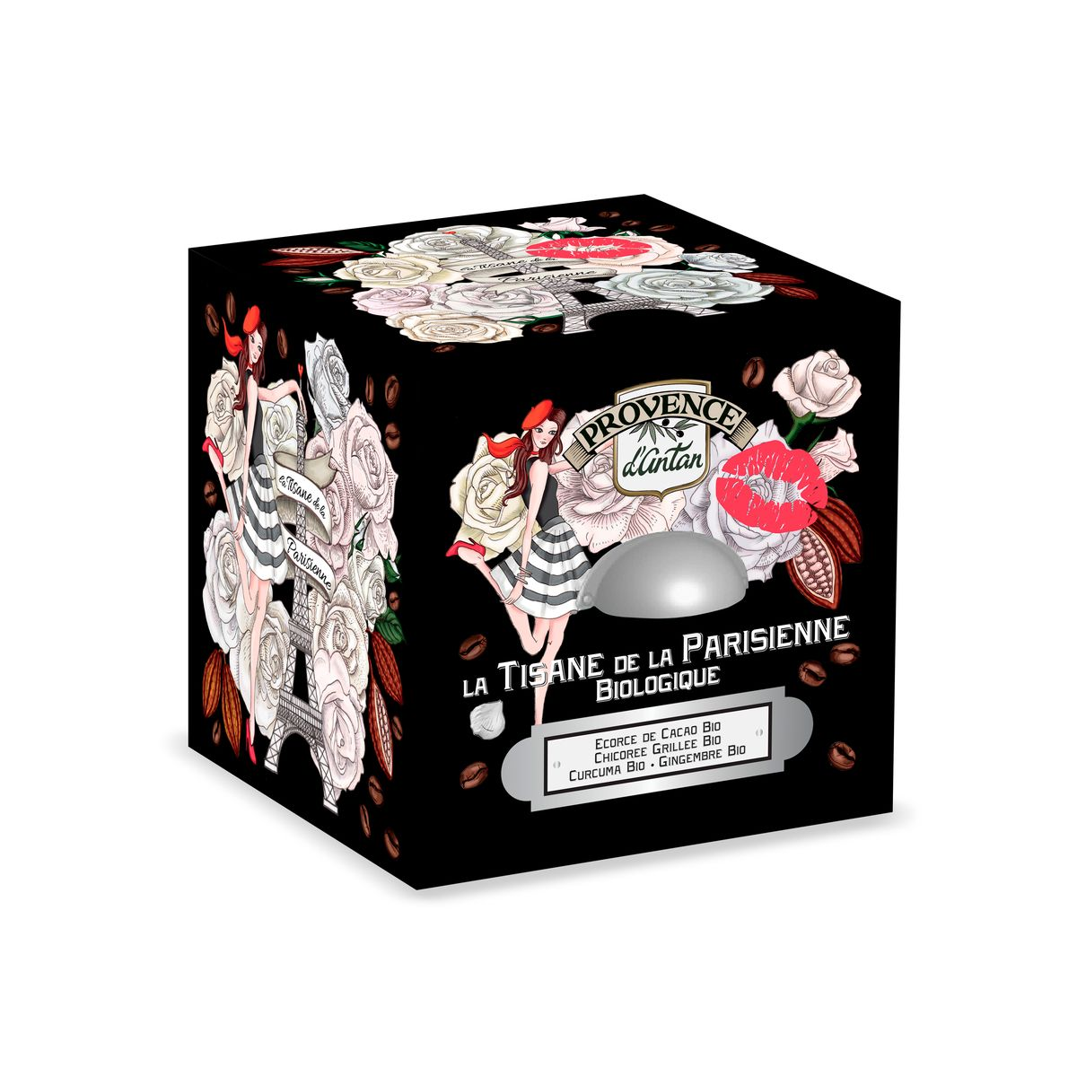Cube métal tisane de la parisienne 24 sachets bio* 48g - Provence d´Antan