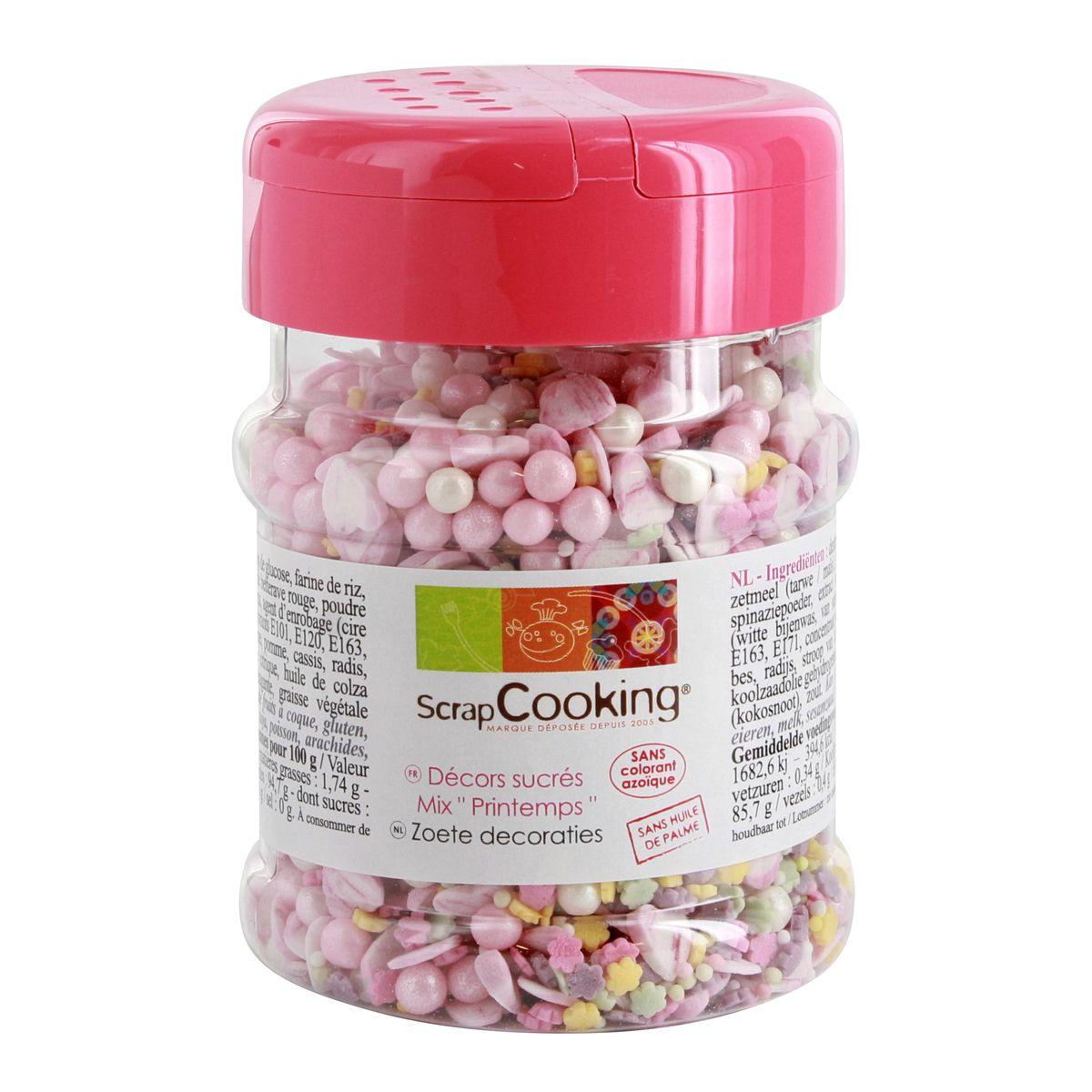 Pot de décors sucres mix printemps 150gr - Scrapcooking