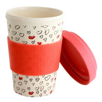 Mug nomade en fibre de bambou cœurs 500ml - Point Virgule