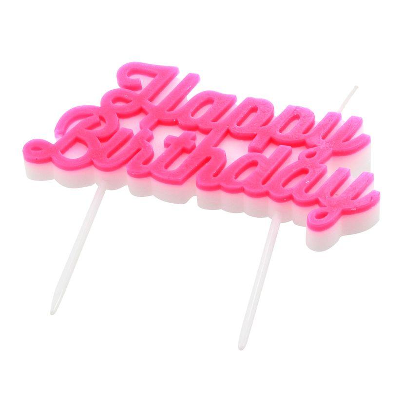 Bougie Happy Birthday rose - Meri Meri