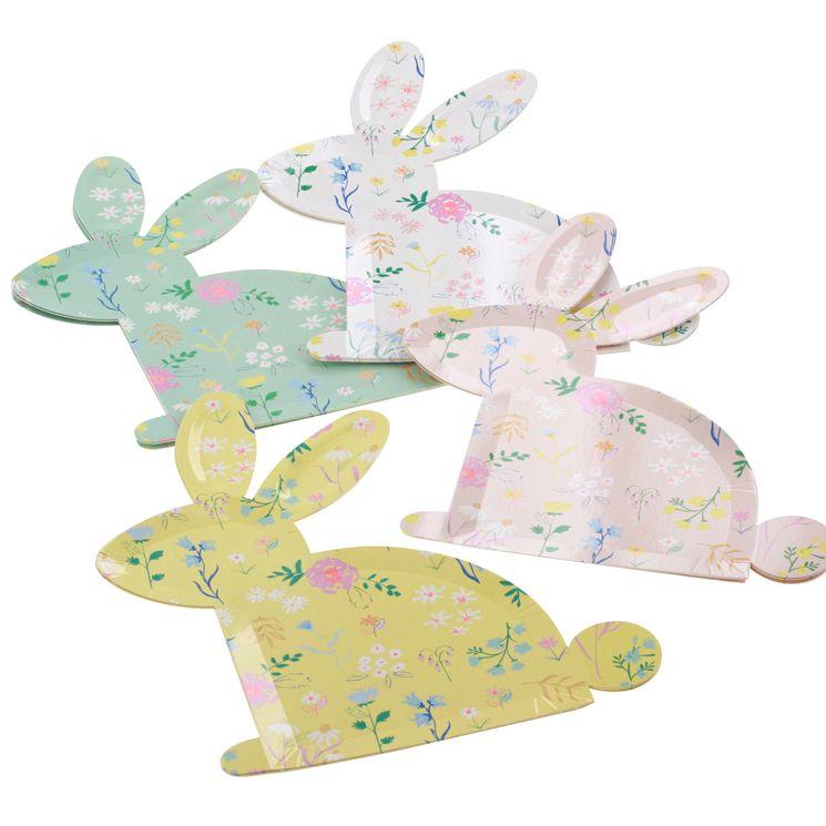 12 assiettes lapins assortiment 4 coloris fleuris - Meri Meri
