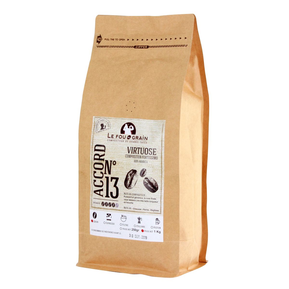 Café en grains 1kg Virtuose n°13 - Le Fou du Grain