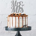 Décoration gâteau cake topper Mr & Mrs argent - Anniversary House