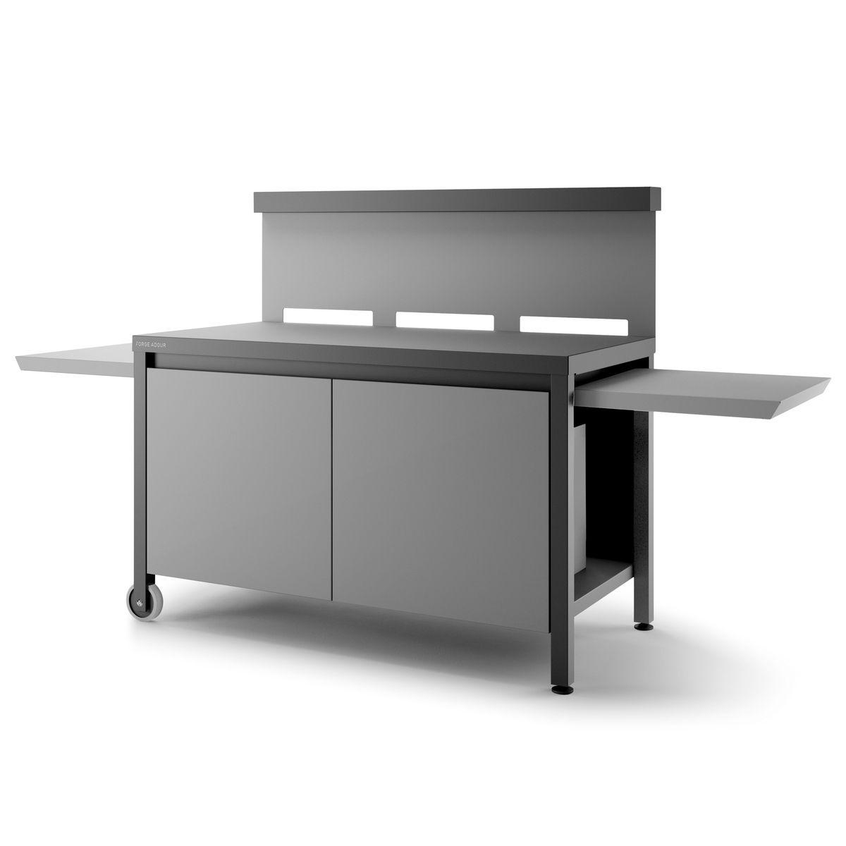 Table roulante crédence acier fermé noire et gris clair mat pour plancha - Forge Adour
