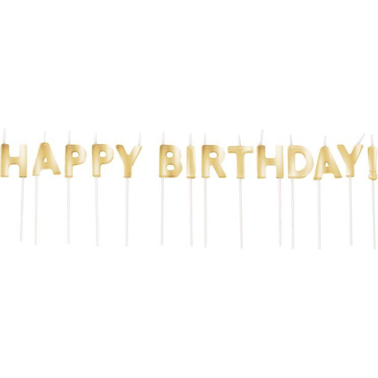 Bougies Happy Birthday doré - Creative Converting