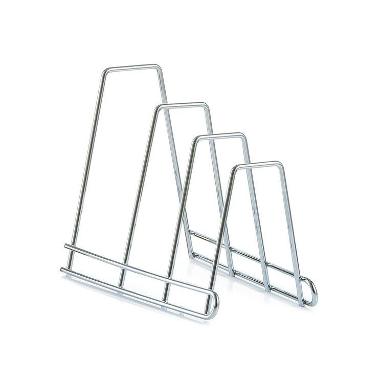 Rangement planche et couvercle en métal chromé - Zeller
