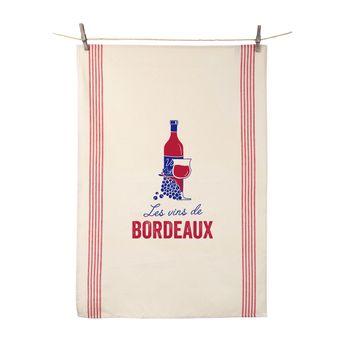 Torchon Les vins de Bordeaux 55x80 cm 100% coton - Tissage de L´Ouest