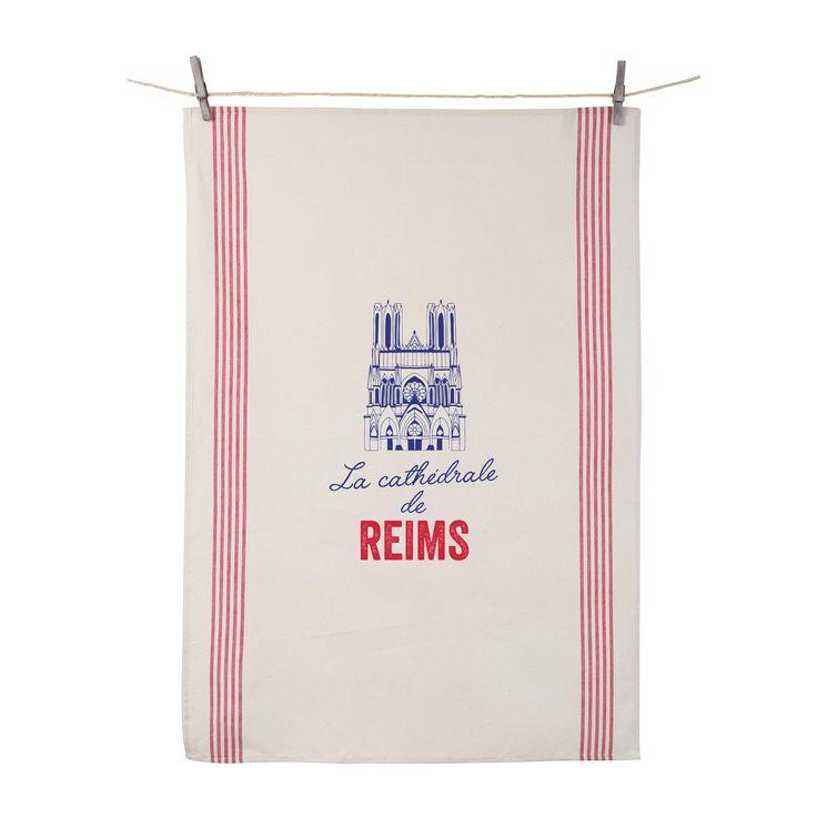 Torchon La Cathédrale de Reims 55x80 cm 100% coton - Tissage de L´Ouest