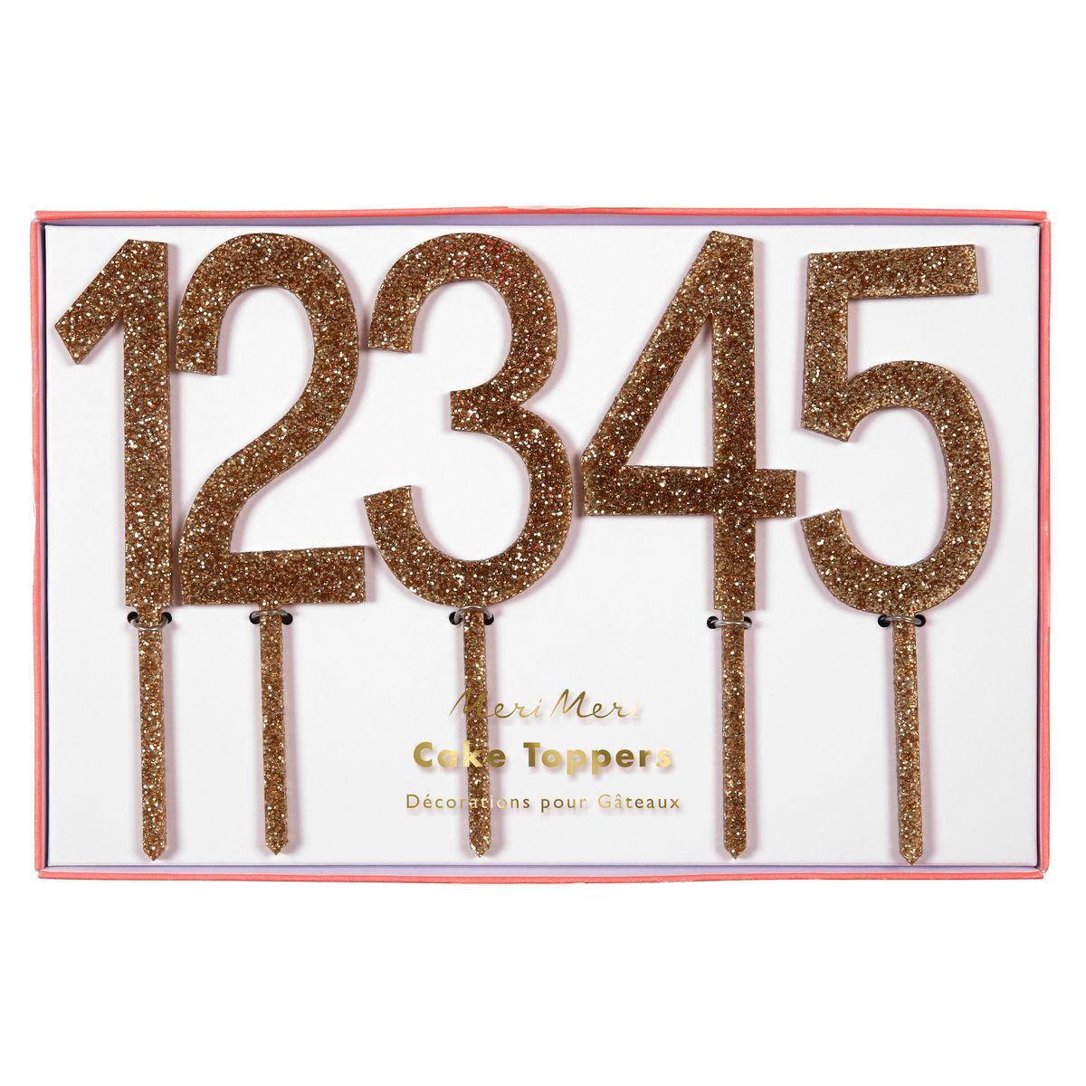 Décor de gâteau : 10 chiffres en acrylique dorés - Meri Meri