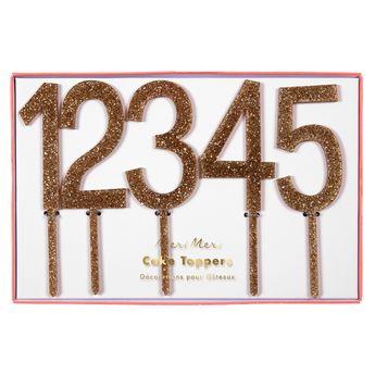 Achat en ligne Décor de gâteau : 10 chiffres en acrylique dorés - Meri Meri