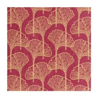 Serviettes 33cm x 33cm Gingko bordeaux or - AvantGarde