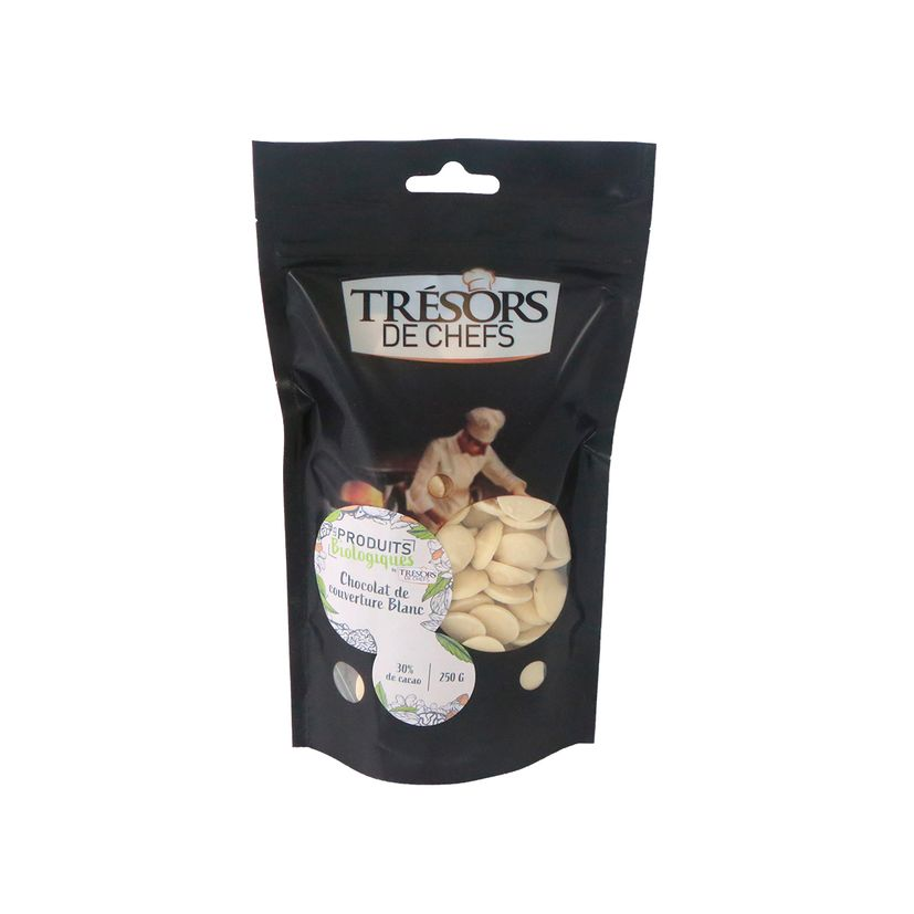 Chocolat de couverture blanc bio 250gr - Trésors de Chefs