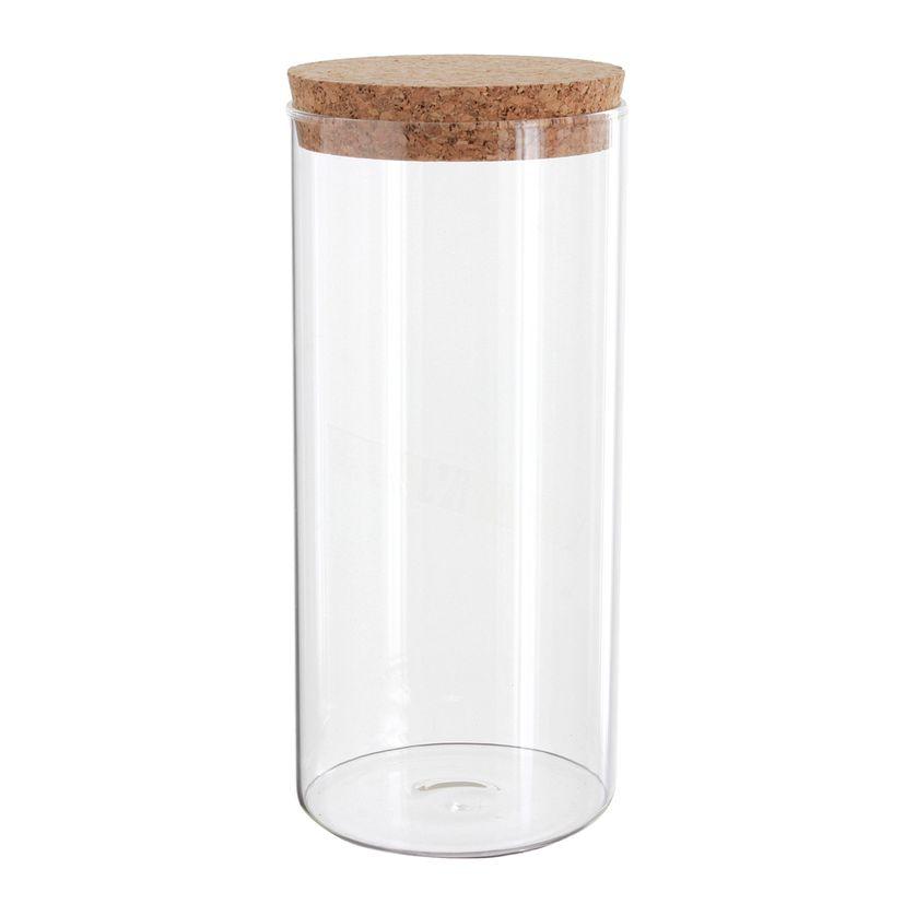 Boîte de conservation en verre avec couvercle en liège 1.4L - Zeller