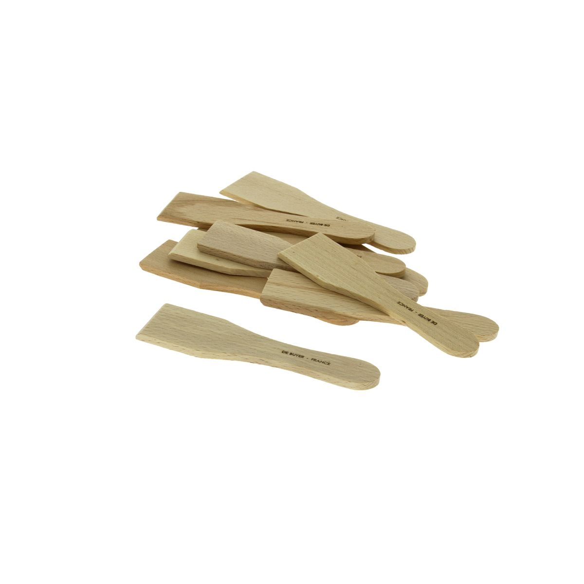 Set de 10 mini spatules à raclette bois - De Buyer