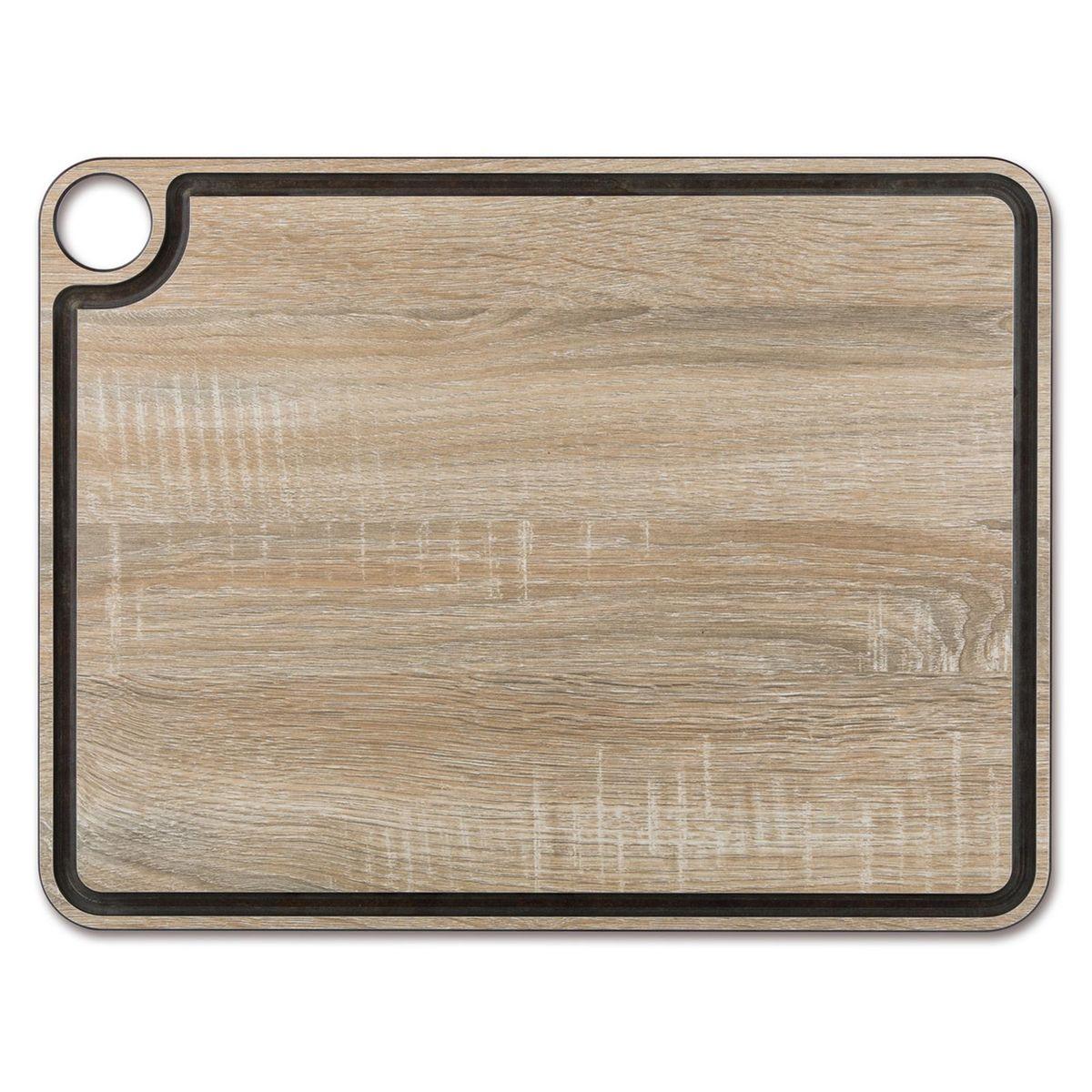 Planche à découper avec rigole effet bois en papier compressé 42.7 x 32.7 cm - Arcos