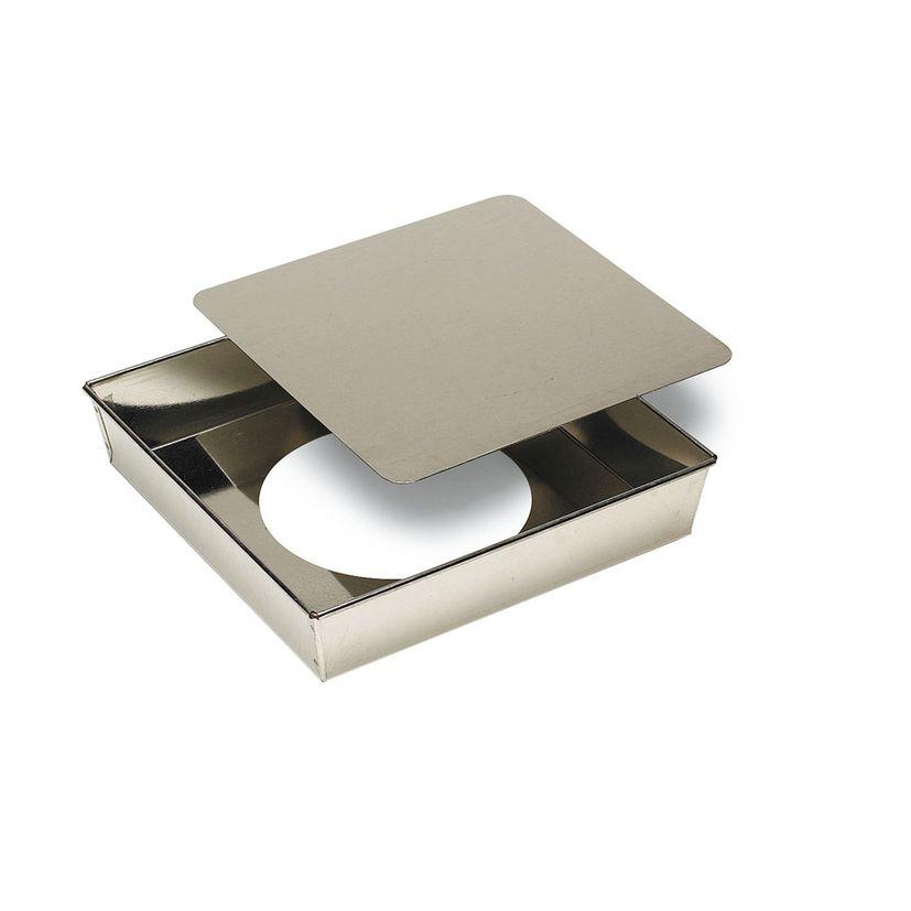 Moule carré à fond amovible en fer blanc 22 x 5 cm - Gobel