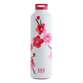 Bouteille isotherme mb Steel fleurs roses - Monbento